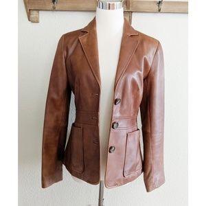 Banana Republic leather blazer jacket